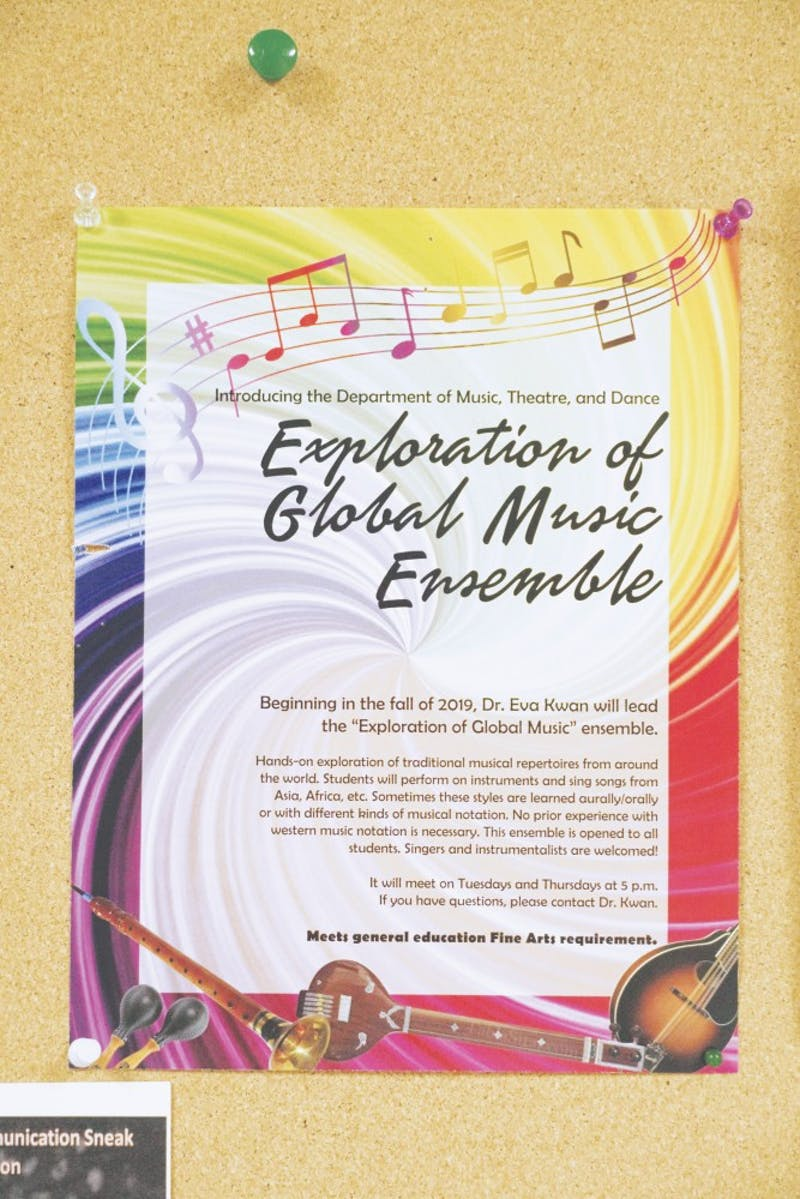 Posters advertising the new Global Music Ensemble can be seen in Taylor's halls