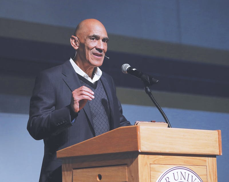 Photograph provided by Jim GarringerFormer NFL coach and player Tony Dungy discussed his spiritual journey through job searches, successes and failures with Taylor's chapel on Nov. 4.