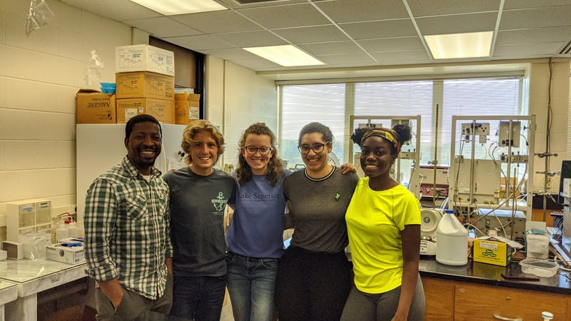 Daniel Kaluka, Alex Helmuth, Elaine Christian, Kendra Russell and Tia Watkins worked together this summer on campus.