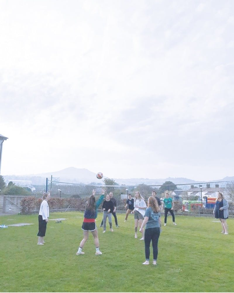 Study abroad students play a game in Greystones, Ireland.