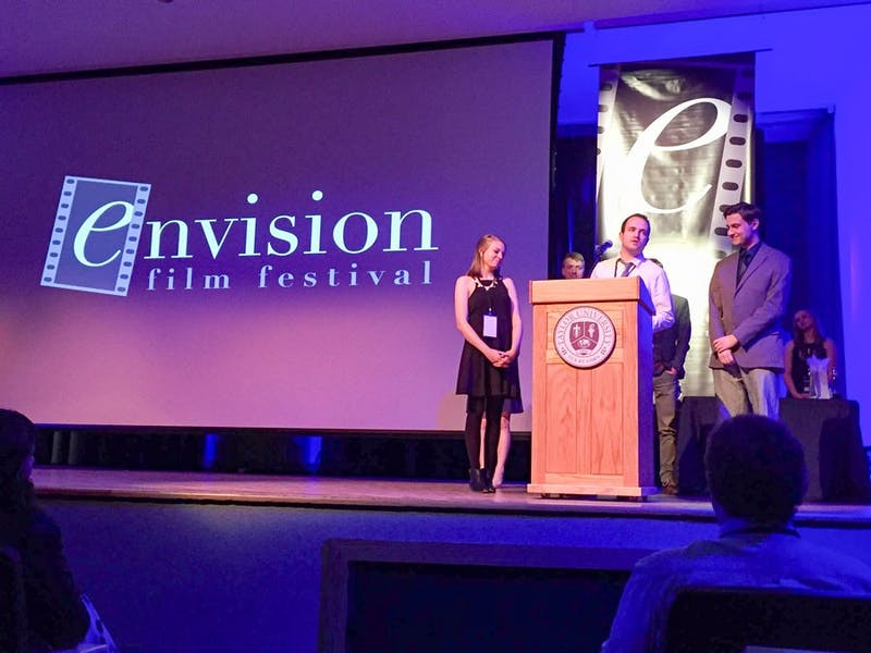 (Photograph provided by Joshua Adams) The Envision Film Festival has been a part of many aspiring filmmakers' Taylor experience including (L to R) Sarah Topp ('15), Levi Wortley and Jake Rundell ('15).