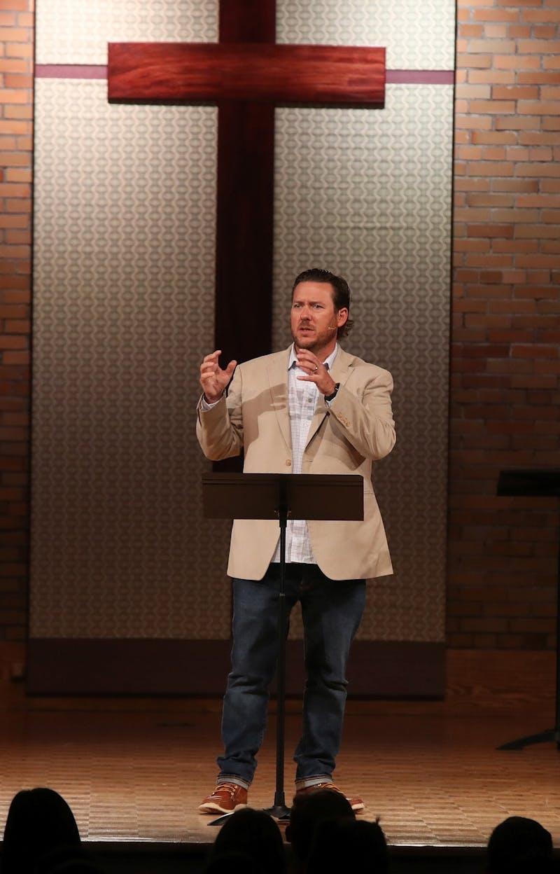 Campus Pastor Jon Cavanagh speaks in chapel.