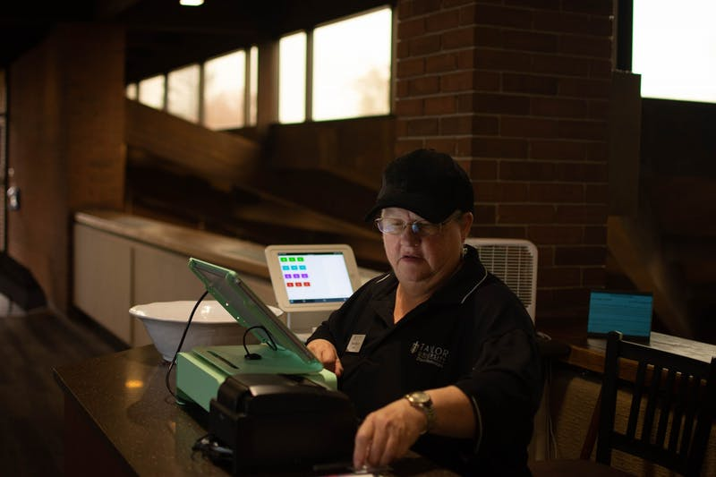 Susan Maloney has been working at Taylor University in food services for 27 years. For the last four years, she has served as a register attendant at the Hodson Dining Commons.