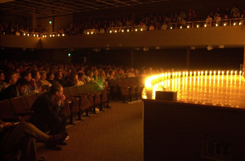 Taylor community gathers in chapel to honor the lives of those lost in the 2006 van accident. (Photograph provided by The Echo Archives)