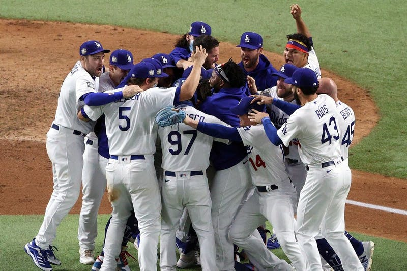 The Dodgers celebrate after winning the World Series last week