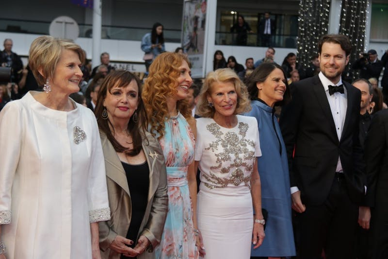 "David Turner (right), with the group behind ""Making Waves"" at the Cannes Film Festival."