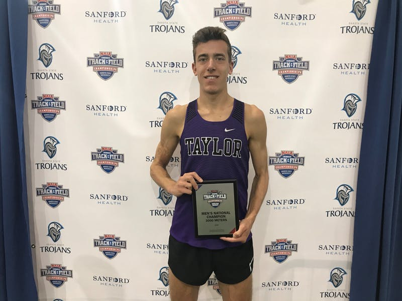 Josh Roth won the 3,000-meter race at the NAIA Indoor National Championships.