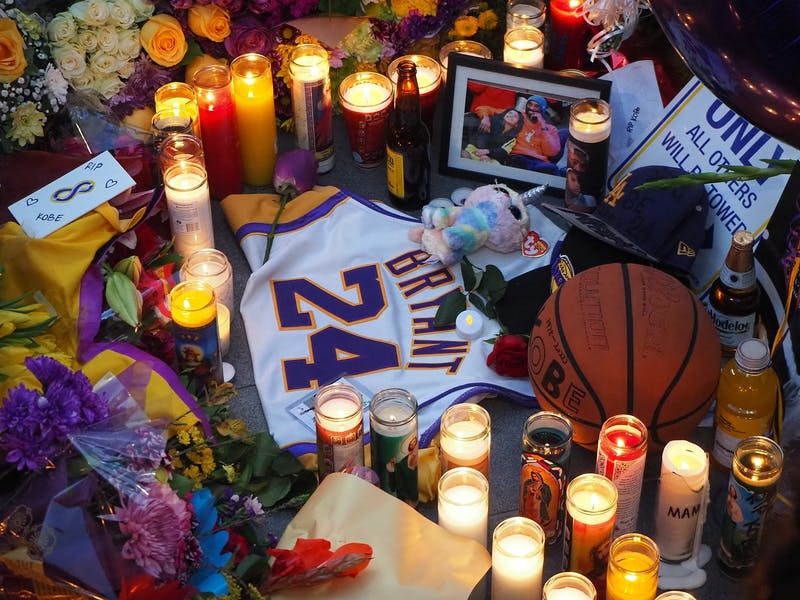 People paid their respects to Bryant at a public memorial held outside Staples Center.
