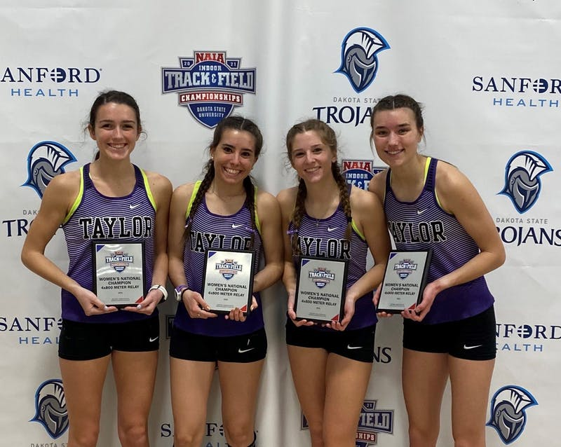 The 4x800 relay team also broke the Taylor school record in addition to their national championship.