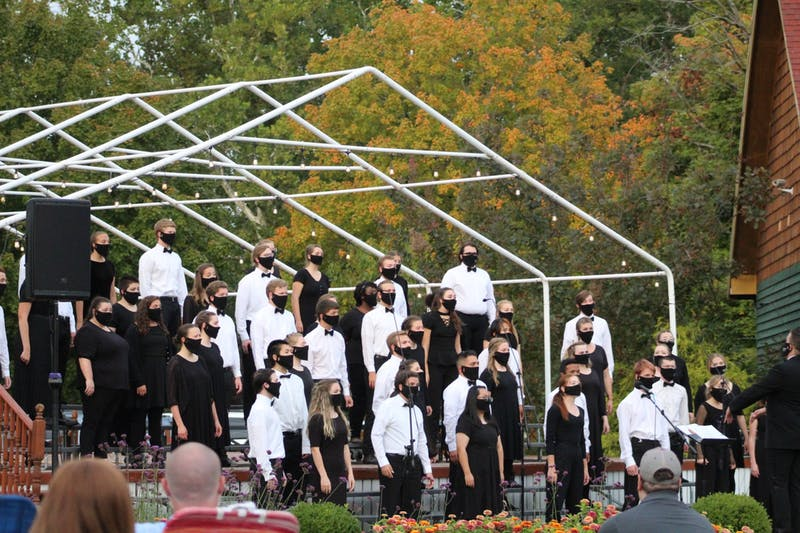 Taylor Chorale held their first performance of the season at Matter Park on Sept. 23. (Photo provided by Josie Koontz)