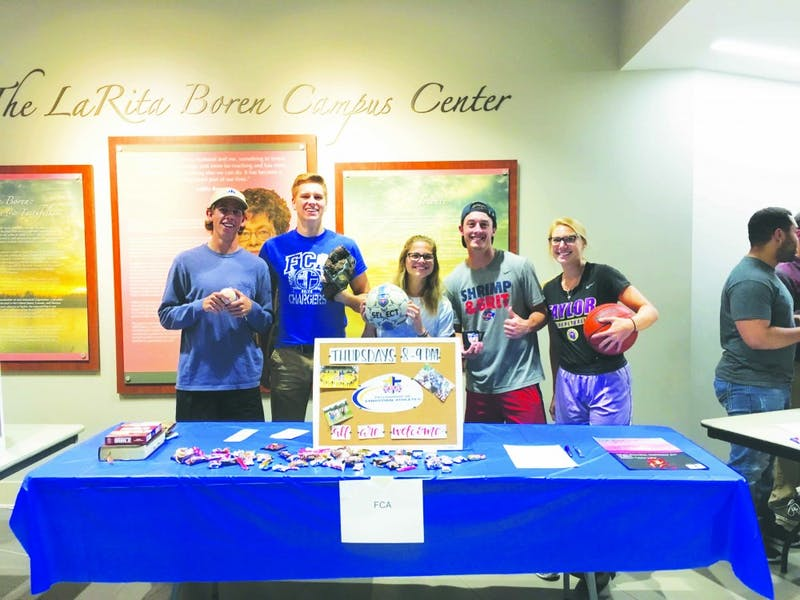Senior Nick Waskom and juniors Christian Allen, Bailey Zehr, Josh Lane, and Aubrey Wright together form the Fellowship of Christian Athletes. (Photograph provided by Christian Allen)