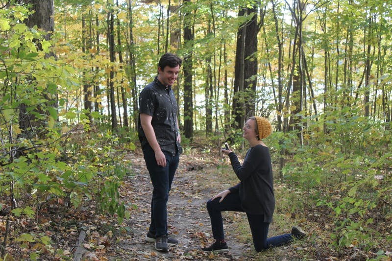 Senior Page McNinch arranged the proposal to take place in their favorite spot as a couple, with her roommate, Paula Todhunter, taking photos.