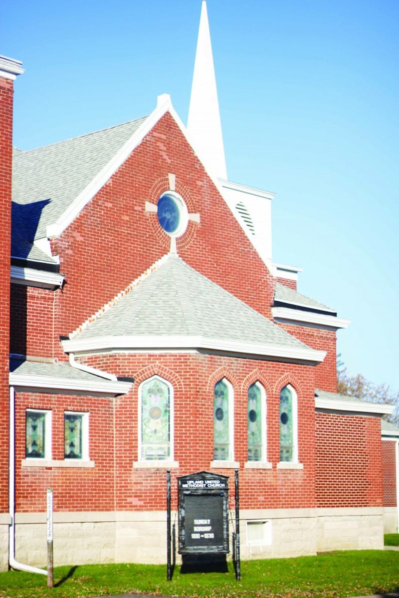 The Upland United Methodist Church (UMC) is currently leaving the building here which was bought by Taylor for $1. (Photograph provided by Riley Hochstetler)