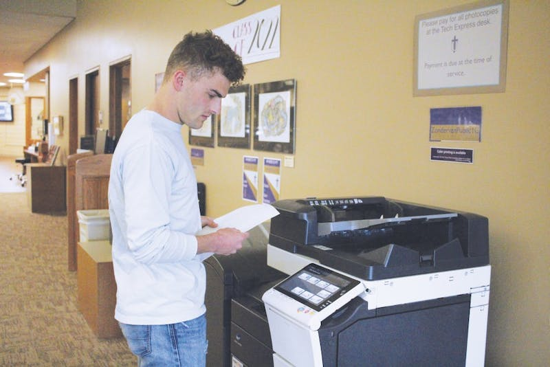 Senior Harrison Vandernoord questions if dorms should have printers.
