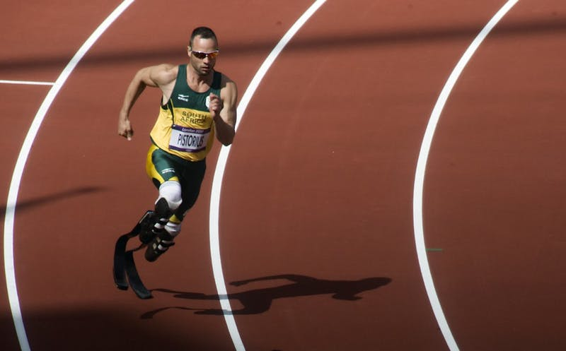 Pistorius running in the Olympic Stadium during the heats of the 400 metres at the 2012 Summer Olympics on 4 August