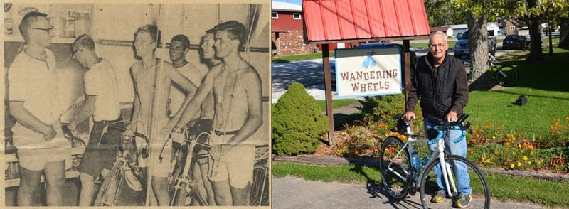 "In 1966, (Left) Coach Davenport talks with several of the ""Wheels,"" (L to R) Joe Smith, Nelson Rediger, Ross Chenot and Bob Ayton during a dinner break. Today, (Right) Davenport exhibits one of the bikes at Wandering Wheels. (Photos: L provided by Bob Davenport, R by Katherine Yeager)"