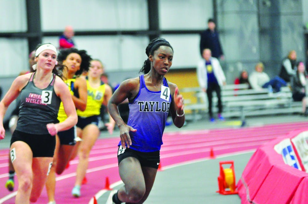 Track and field tramples competition