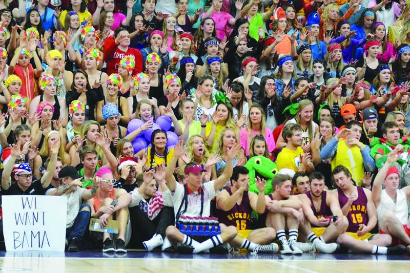 Students, wearing costumes for Silent Night, stay silent while they await the 10th point. (Photograph provided by Jim Garringer)