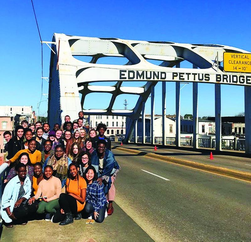 In Selma, Alabama, the group's first stop of the day was the Edmund Pettus Bridge which was named after a white supremacist. Martin Luther King Jr. led supporters down this bridge three times in a march for the right to vote. (Photograph provided by Felicia Case)