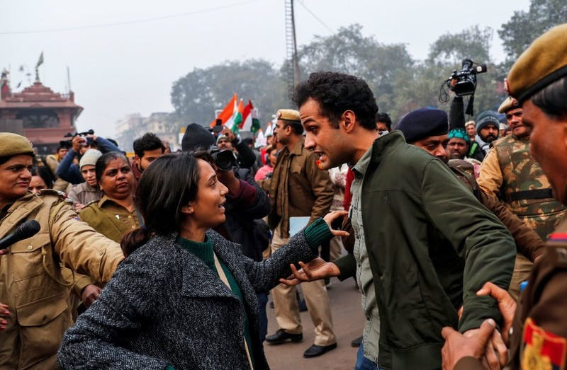 Demonstrators are detained during a protest against a new citizenship law, in Delhi, India, December 19, 2019