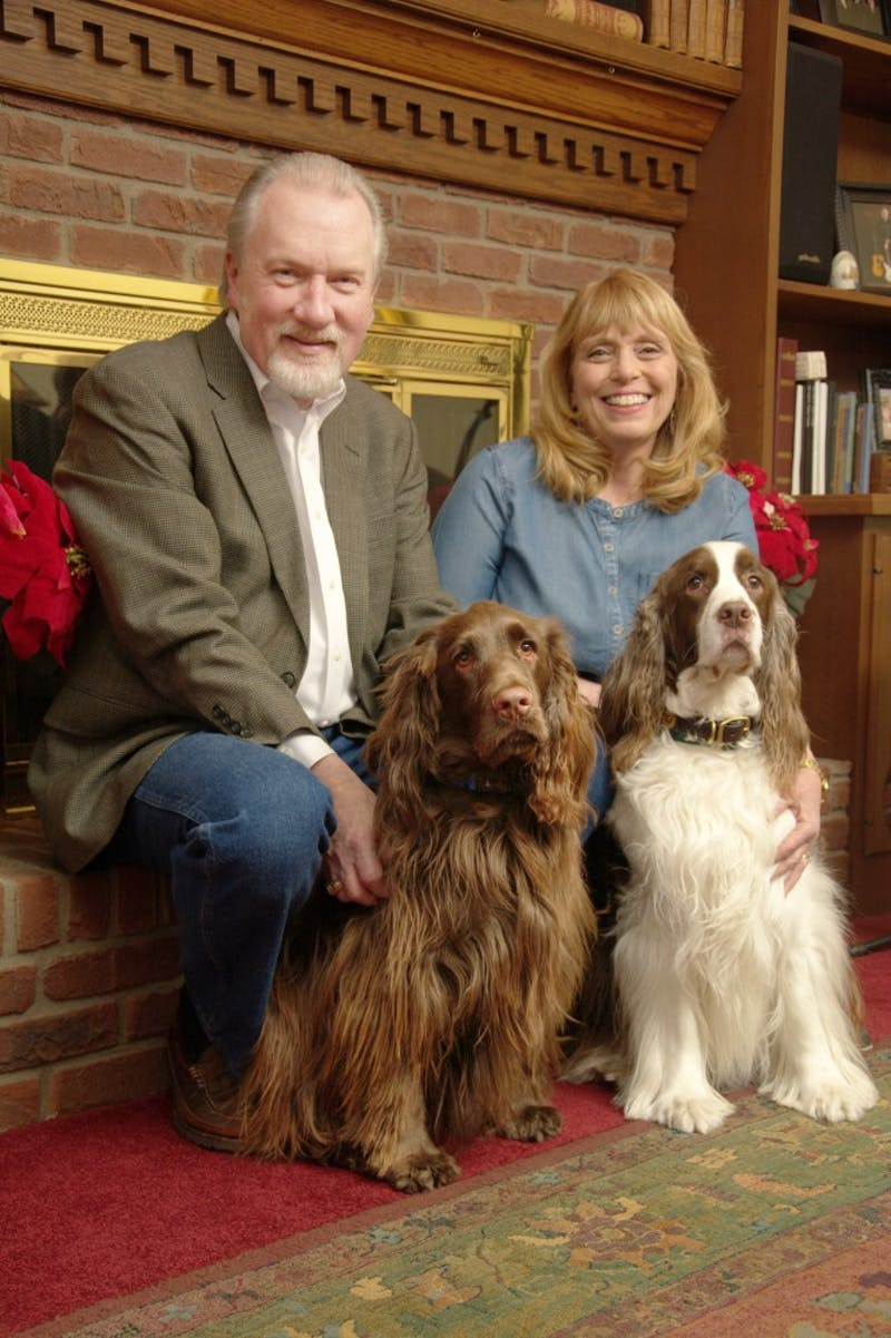 Paul Lowell Haines has been inaugurated as Taylor University's 31st president. His wife Sherry and his two dogs join him in this next step.(Photograph provided by Jim Garringer)