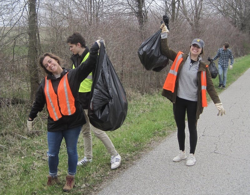 Environmental Science, Society and Sustainability Taylor students caring for creation by picking up roadside trash.