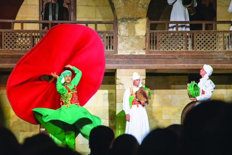 Sufi performers dance near Khan el-Khalili in downtown Cairo, Egypt. (Photograph provided by Abigail Roberts)