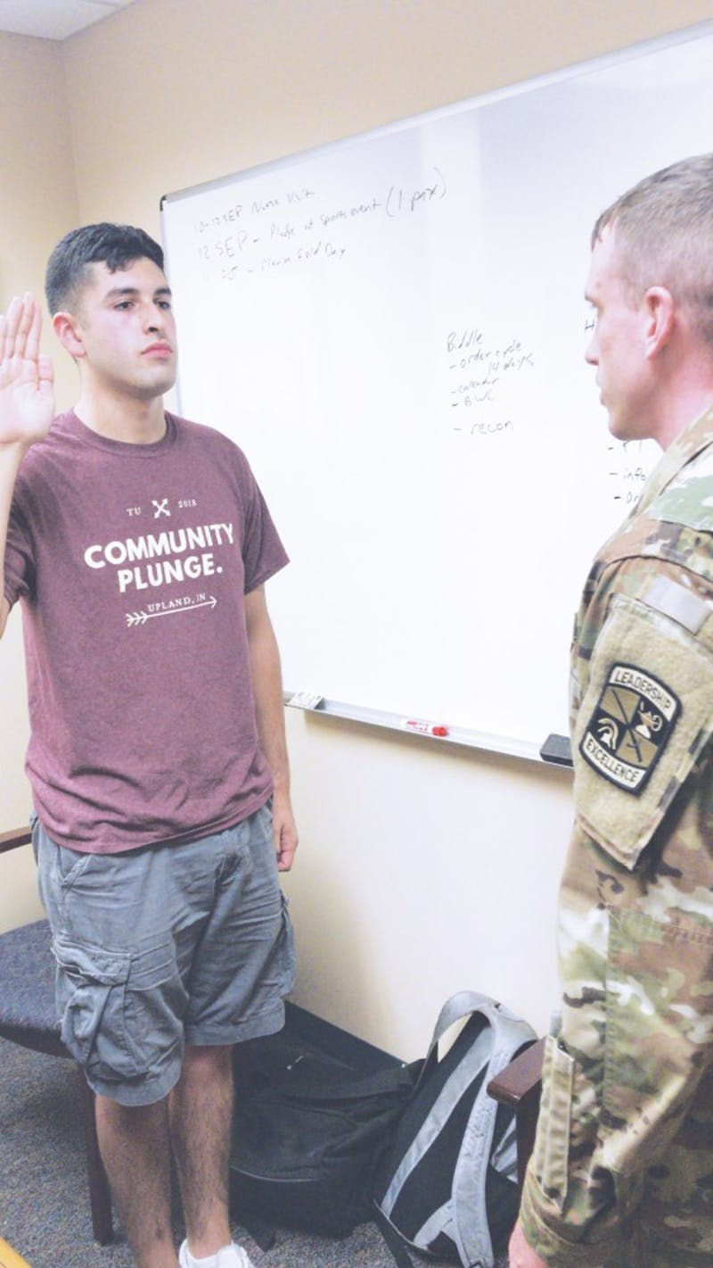 Nate Ortega swears into the military.