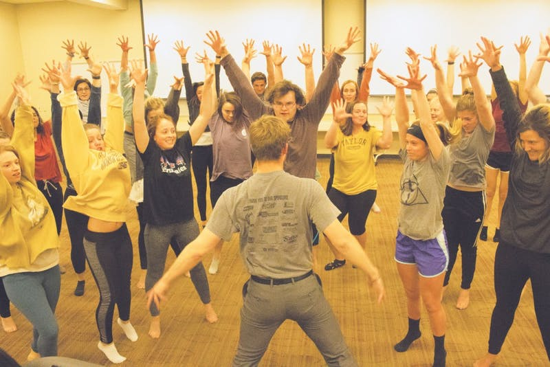 Students from Third Center Olson and Third East Wengatz put the time in for Airband.
