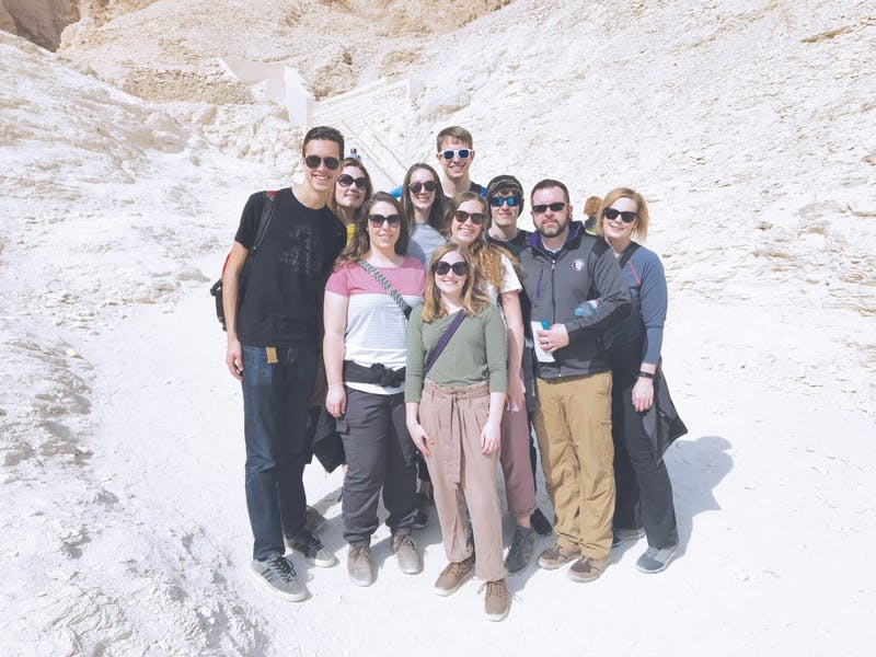 The J-term group poses for a picture in Egypt.