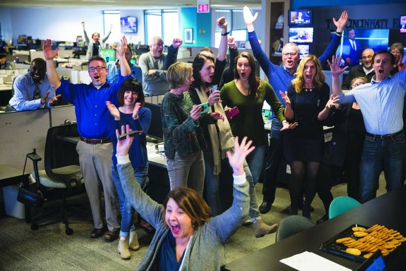 "The Cincinnati Enquirer wins a Pulitzer Prize for local reporting for their ""Seven Days of Heroin"" project Monday, April 16, 2018. (Photograph provided by Meg Vogel)"