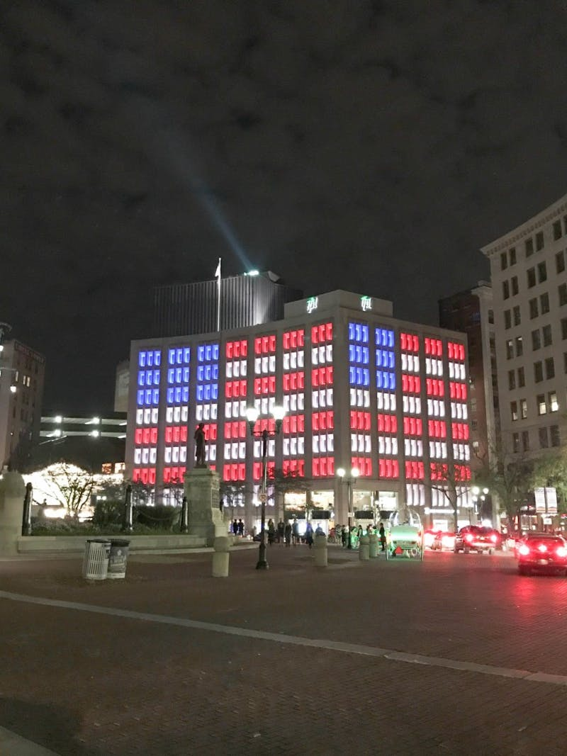 The Indianapolis Power and Light Company building shows its patriotism.