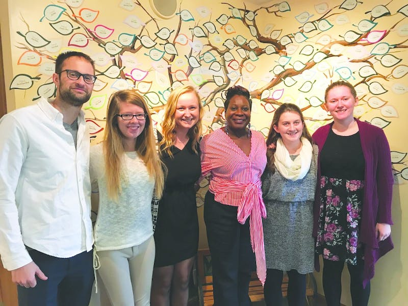Dr. Jacob Kendall, Sydney Wagoner, Grace Elenbaas, Cathy Weatherspoon, Rachel Houck and Michaela Shake celebrate their grant approval in Marion. (Photograph provided by Grace Elenbaas)