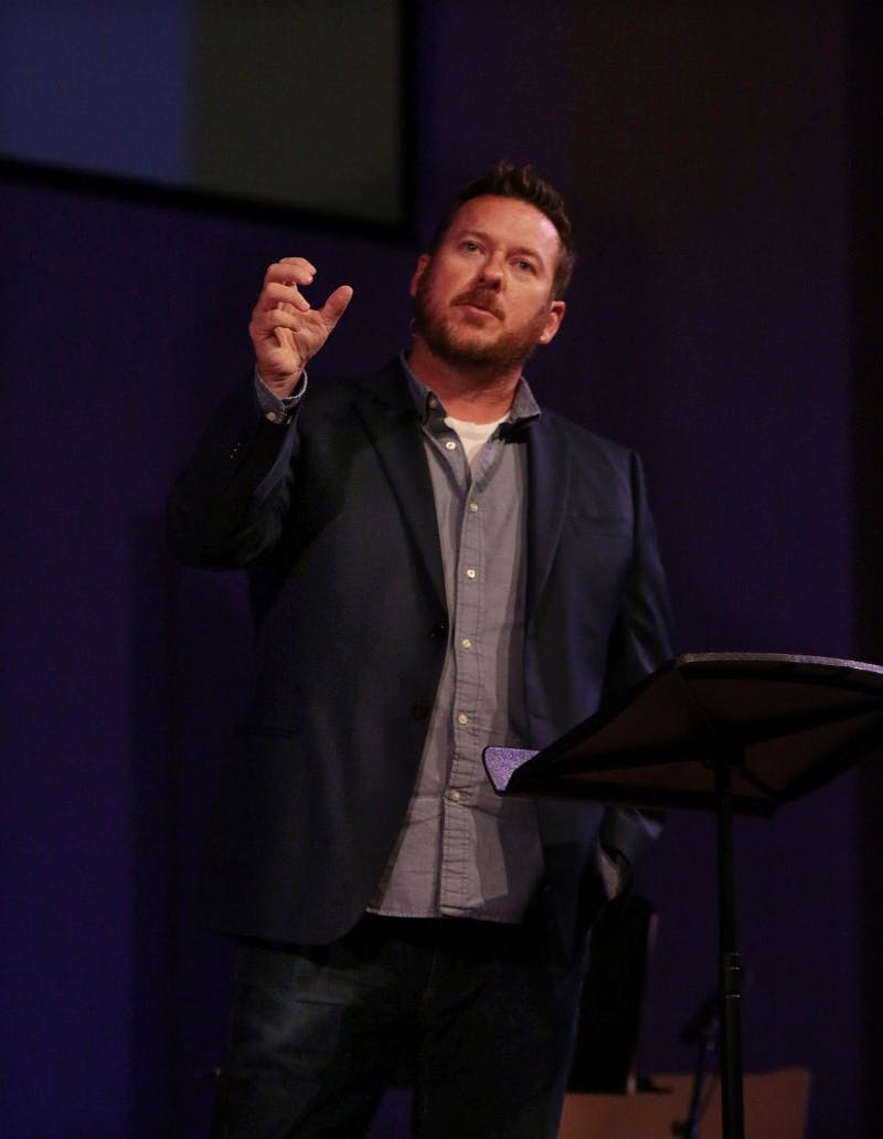 "Campus Pastor Jon Cavanagh shared this year's chapel theme, ""Life to the Full,"" at the beginning of the semester."