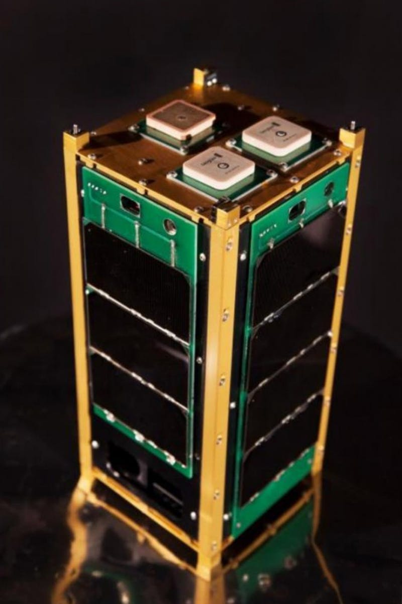 The TSAT is a nanosatellite, about as big as a loaf of bread, designed to relay atmospheric information to Earth. (Photograph provide by TSAT team)