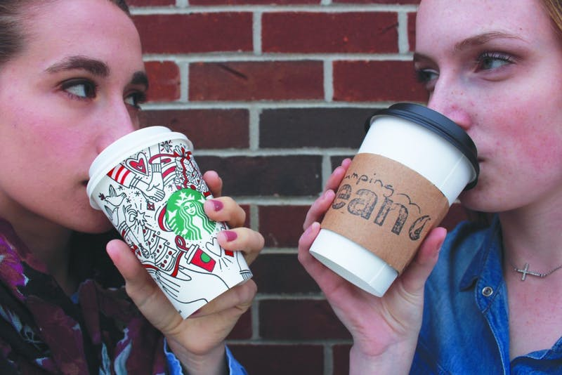 The ultimate standoff: The Bean and Starbucks. (Photograph by Ellie Bookmyer)