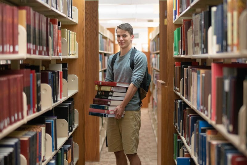 Sophomore Joseph Ford hits the books in Zondervan Library.