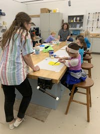 Junior Bronte Fry and seniors Josie Starkey and Mallory Tyree led the kindergarten after school group.