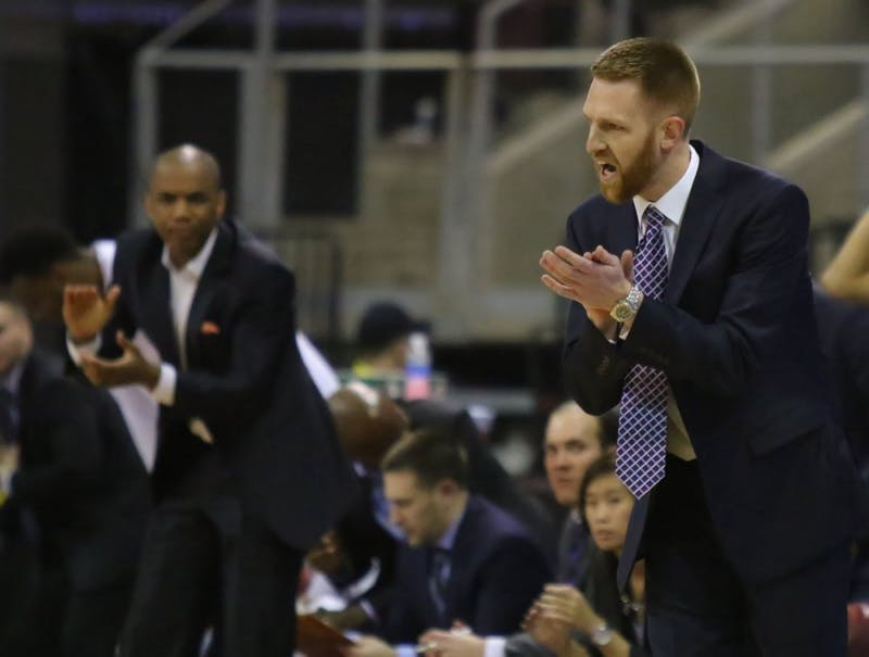 Bret Burchard coaches his team, the Northern Arizona Suns, during a regular season matchup.