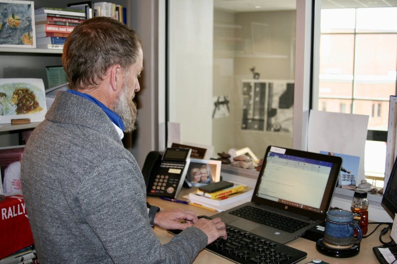 Dean of Students, Jesse Brown works diligently in his office located on the second floor of the LaRita Boren Center.