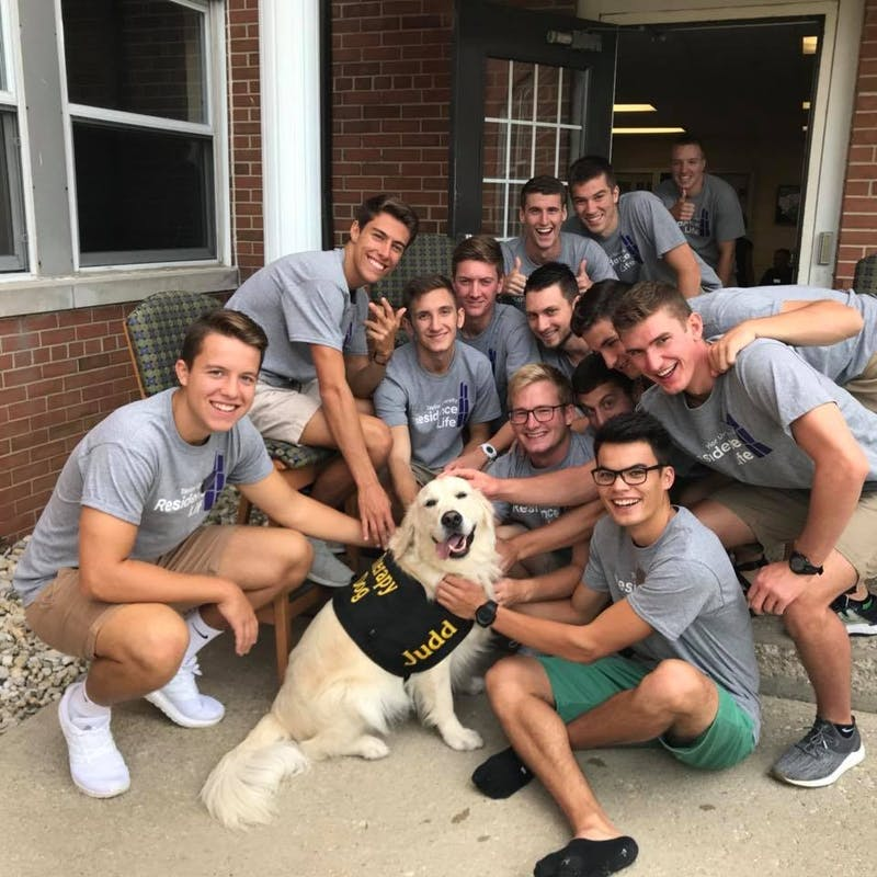 During Welcome Weekend, Judd made his rounds to meet many of the Taylor students moving in. Here he is pictured smiling with the residence leadership of Wengatz Hall.