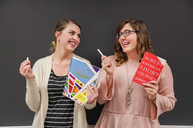 Photograph by Elyse Horb. Pictured: education majors Lauren Moreland, left, and Jessica Wise, right, discuss standardized testing.