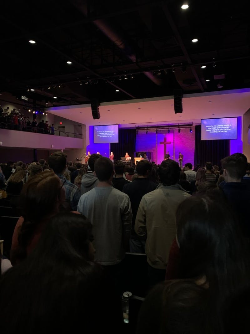 Students worship during chapel