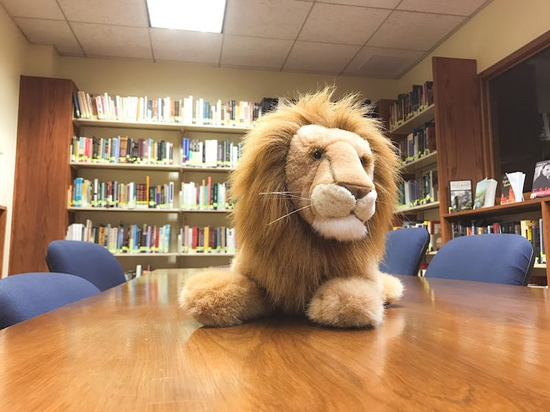 A mascot of sorts sits atop a work table in the Center for the Study of C.S. Lewis and Friends.Photo by Trevor Osswald.