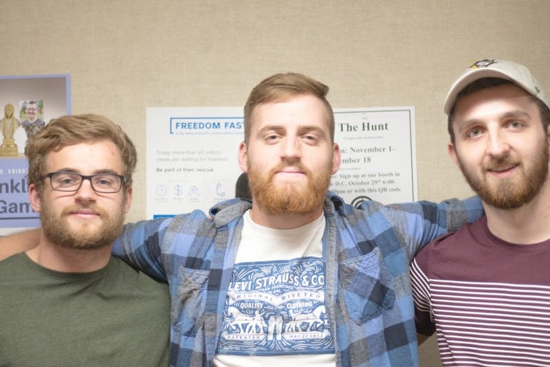 Justin Fath, Noah Huesman and Noah Pitts show off their beards for the camera. This could be you if you participate in our No-Shave November competition.