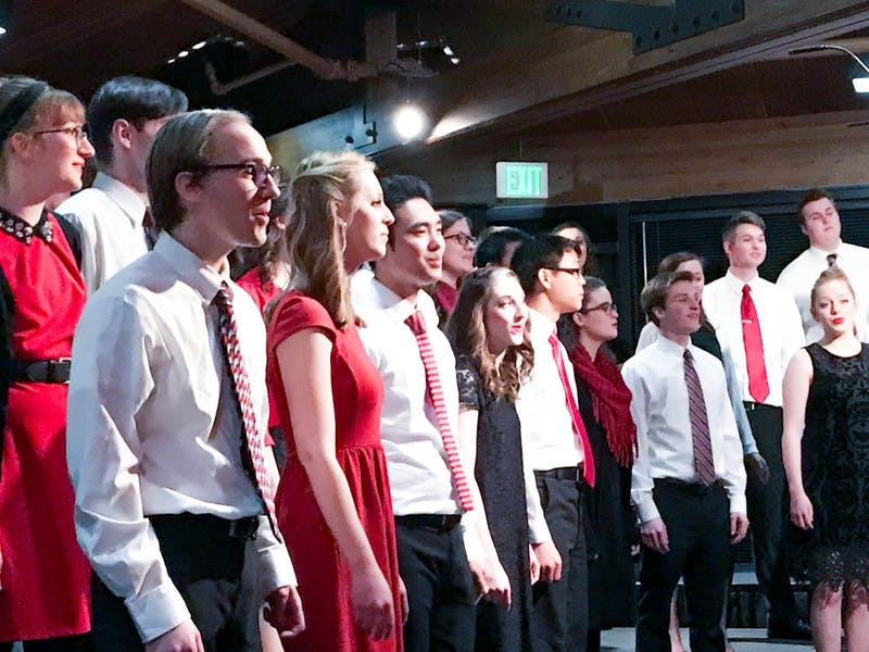 The 2018 chorale performs for the Valentine's Day banquet.(Photograph provided by Cathy Moore)