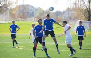 GVL / Kevin Sielaff - Grand Valley's club soccer team sqaures off against Notre Dame University Oct. 11.