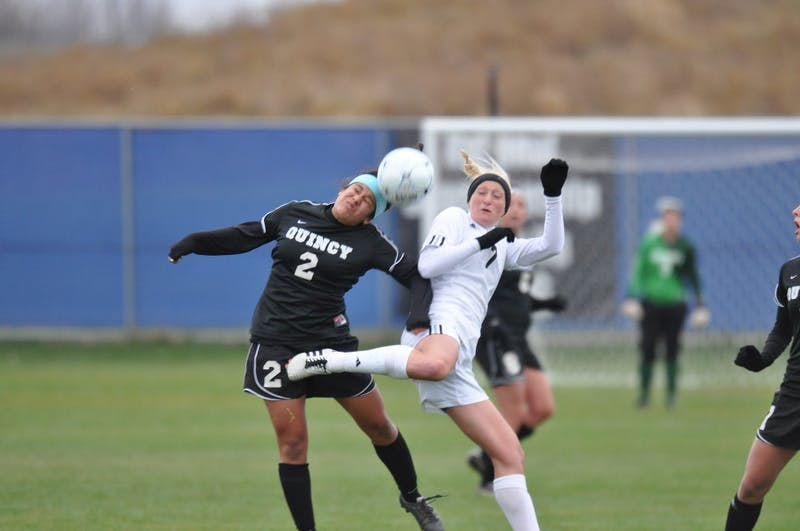 GVL Archive / Rachel DwyerErin Mruz tries to gain posession of the ball during the GLIAC quarter finals against Quincy