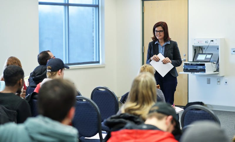 GVL/Kevin Sielaff - Heather Tafel, associate professor of political science at GVSU, presents during Grand Valley's first Democracy: 101 event inside the Kirkhof Center on Wednesday, Feb. 15, 2017.