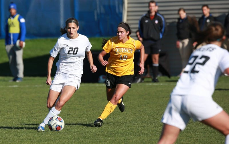 GVL / Kevin Sielaff - Gabriella Mencotti (20) drives toward Quincy's net.  Grand Valley squares off against Quincy in the second round of the women's soccer NCAA tournament Nov. 15 in Allendale. The Lakers take the victory with a final score of 6-0.